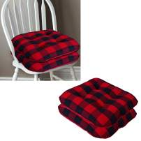 "Lushness Linen Presents 100% Cotton Chair Pad Set of 2 Color Buffalo Check Red & Black (Size - 15"" x 15"")"