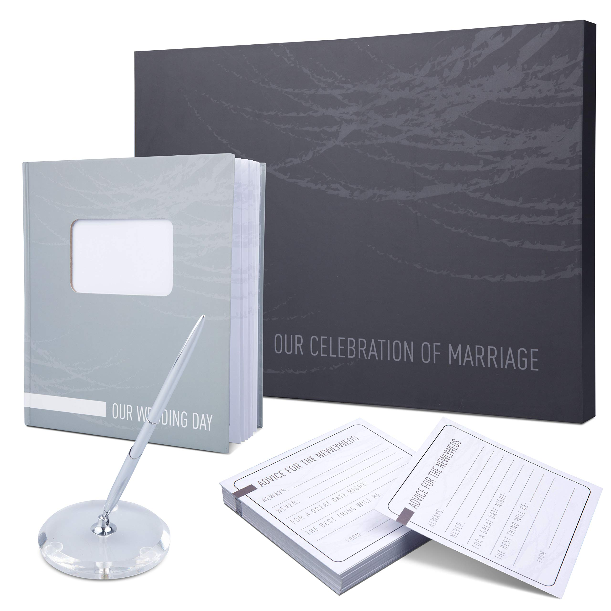 """Wedding Guest Book - Modern and Elegant Wedding Guest Book and Pen Set - 11"""" x 10"""" Guest Book Wedding Set Perfect for Big Weddings - Matching Wedding Guestbook Set with Die-Cut Photo Slot, Memory Card"""