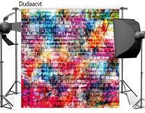 Dudaacvt 8x8ft Colorful Brick Wall Photography Backdrops Painting Graffiti Vinyl Background Q0130808