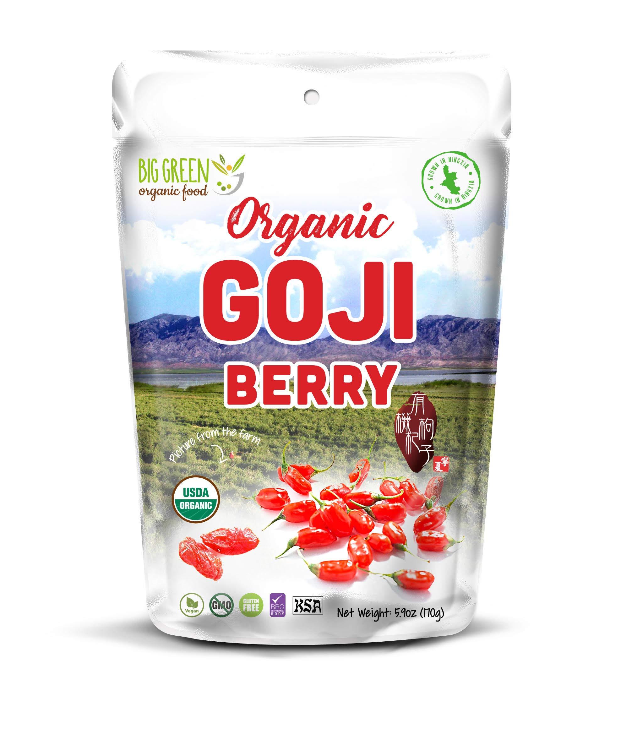 Big Green Organic Food- Organic Goji Berry, Pre-Washed, Ready-to-eat, Vegan, Delightful Snacks