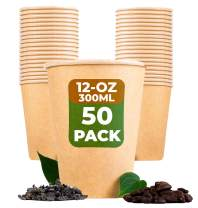 BEELEEVE [50-Pack] Compostable Coffee and Tea Cups - Biodegradable - Single-Use Disposable Containers for Office, Party, & Wedding Beverage - Brown Kraft Paper, PLA Coating (300ml / 12oz)
