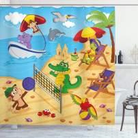 "Ambesonne Animal Shower Curtain, Cartoon Animals Playing on Beach Monkey Hippo Dolphin Exotic Summer Illustration, Cloth Fabric Bathroom Decor Set with Hooks, 70"" Long, Blue Sand"