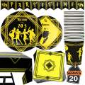 82 Piece 1920's Theme Party Supplies Set Including Plates, Cups, Napkins, Tablecloth and Banner, Serves 20