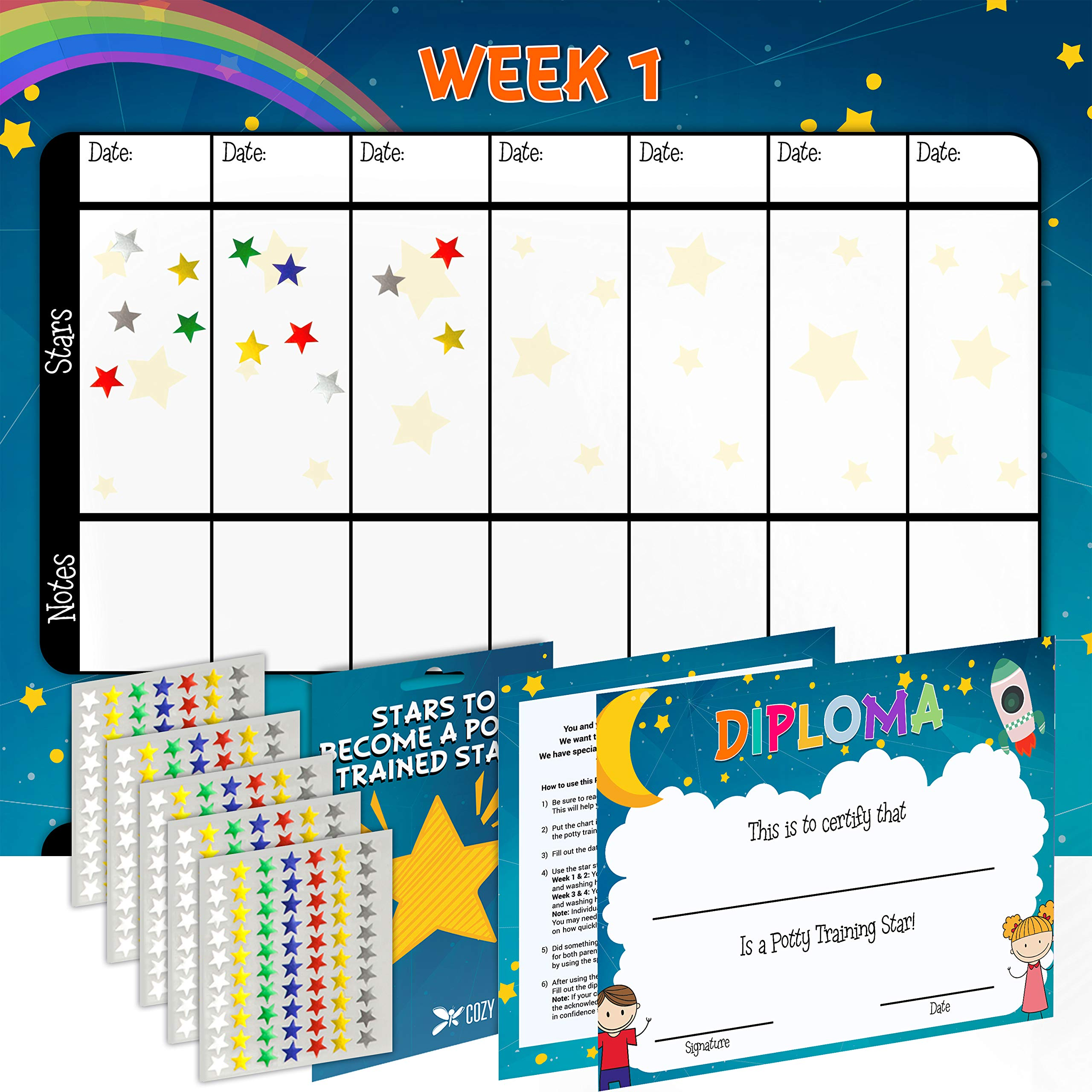 Potty Training Chart for Toddlers Kids - Space Design - Sticker Chart - 4 Week Reward Chart - 350 Colorful Stickers, Certificate, Instruction for Boys & Girls