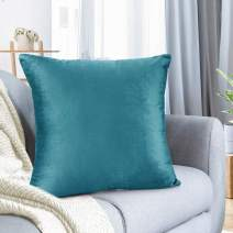 "Nestl Bedding Throw Pillow Cover 18"" x 18"" Soft Square Decorative Throw Pillow Covers Cozy Velvet Cushion Case for Sofa Couch Bedroom - Teal"