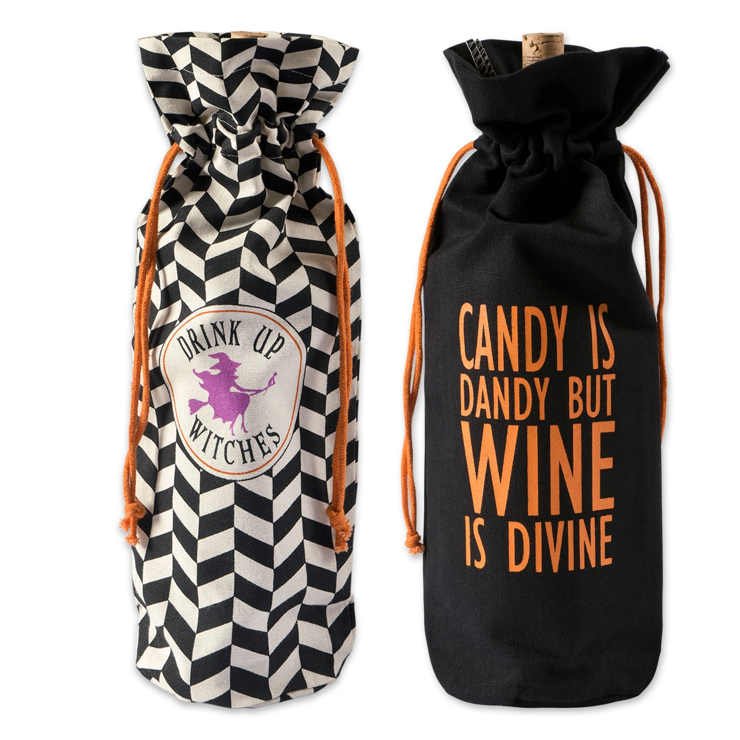 DII 100% Cotton 6x14x4 Wine Halloween Holiday Set/2-All, Hallows Eve Bags