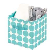 iDesign Dot Fabric Storage Cube Bin, Small Basket Container with Dual Side Handles for Closet, Bedroom, Toys, Nursery - Teal
