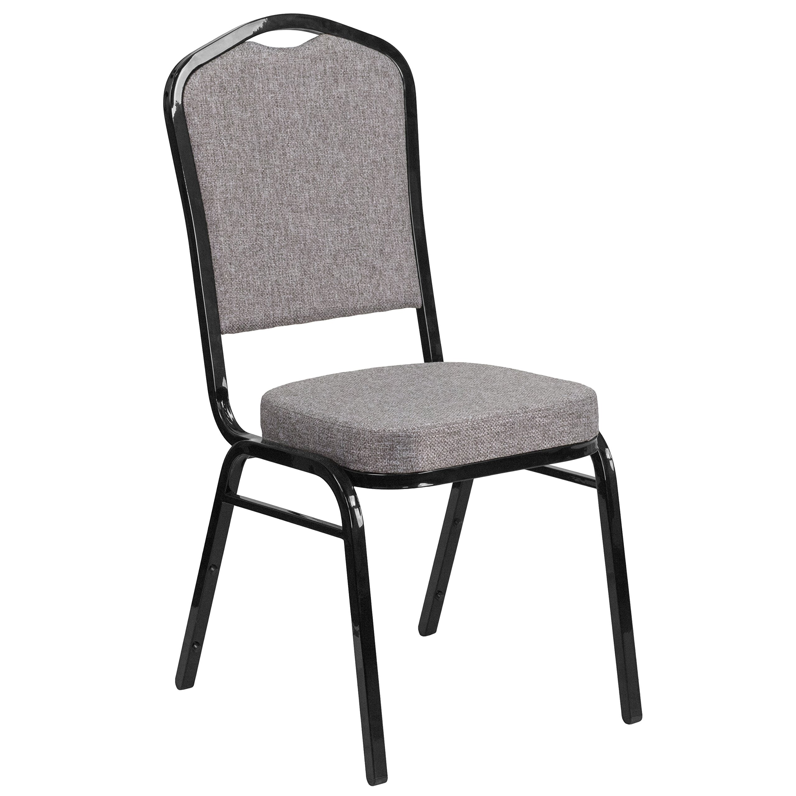 Flash Furniture HERCULES Series Crown Back Stacking Banquet Chair in Gray Fabric - Black Frame