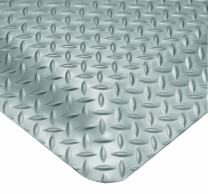 "Wearwell 415.916x2x3GY Diamond-Plate SpongeCote Mat, 2' Width x 3' Length x 9/16"" Thick, Gray"