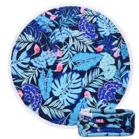 AOLIGE Yoga Mat Throw Blanketfor Couch Sofa Microfiber with Tassels 62 x 62 Inch (Leaf Blue)