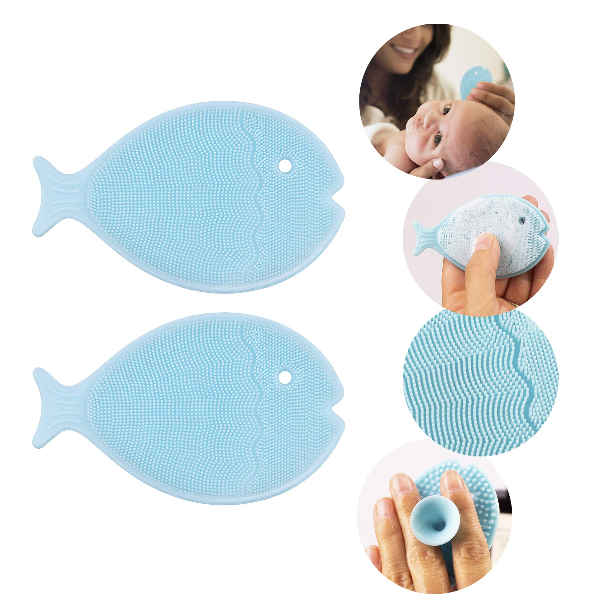 Innobaby Bathin Smart Baby Bath Silicone Cradle Cap Brush, Essential for Dry Skin and Eczema (2 Pack)