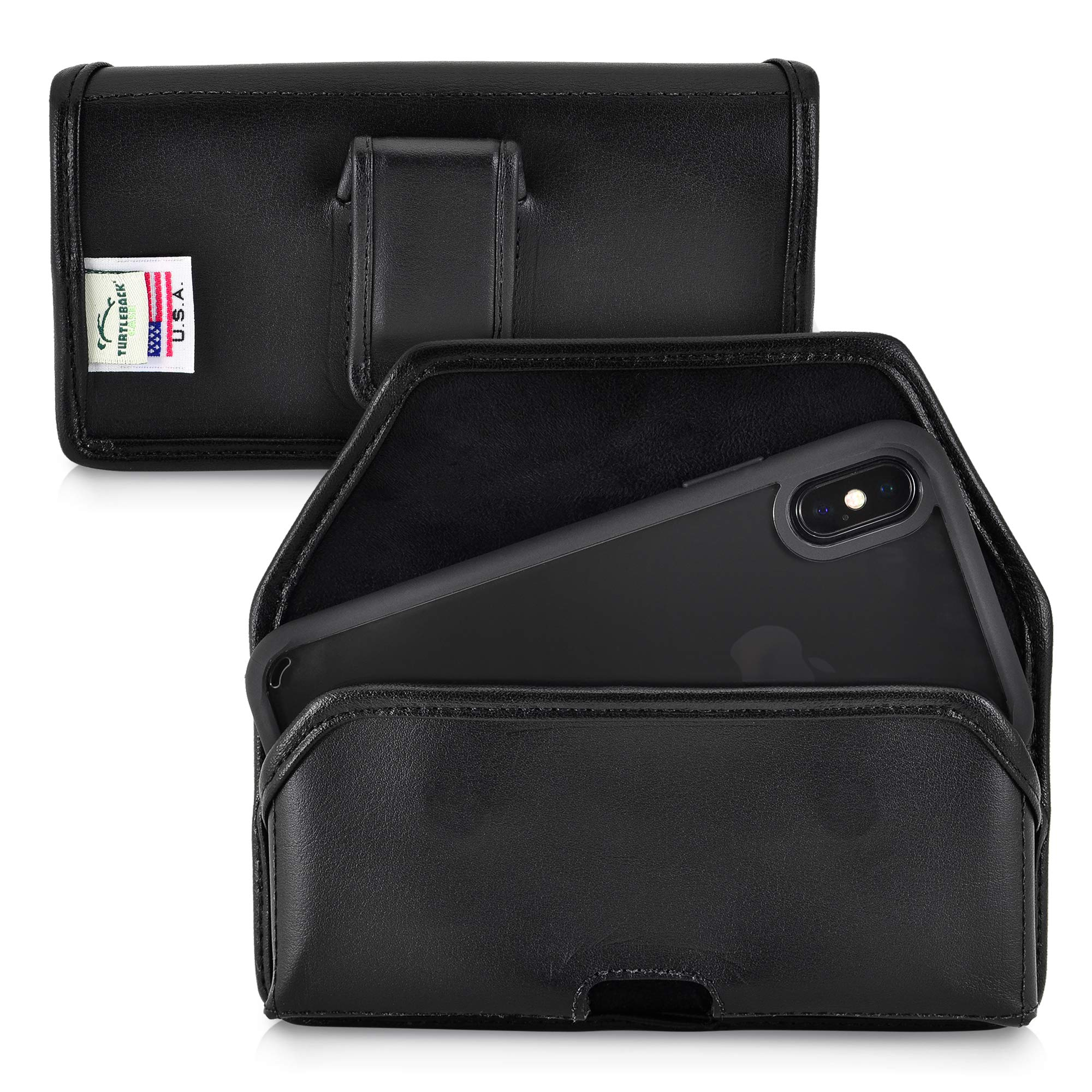 Turtleback Holster Designed for iPhone 11 Pro (2019) iPhone Xs (2018) and iPhone X (2017) Belt Case Black Leather Pouch with Executive Belt Clip, Horizontal Made in USA