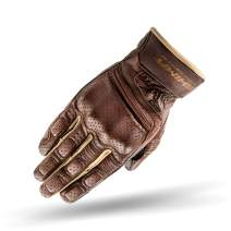 SHIMA Aviator Mens Vintage Leather Motorcycle Gloves - Brown/L