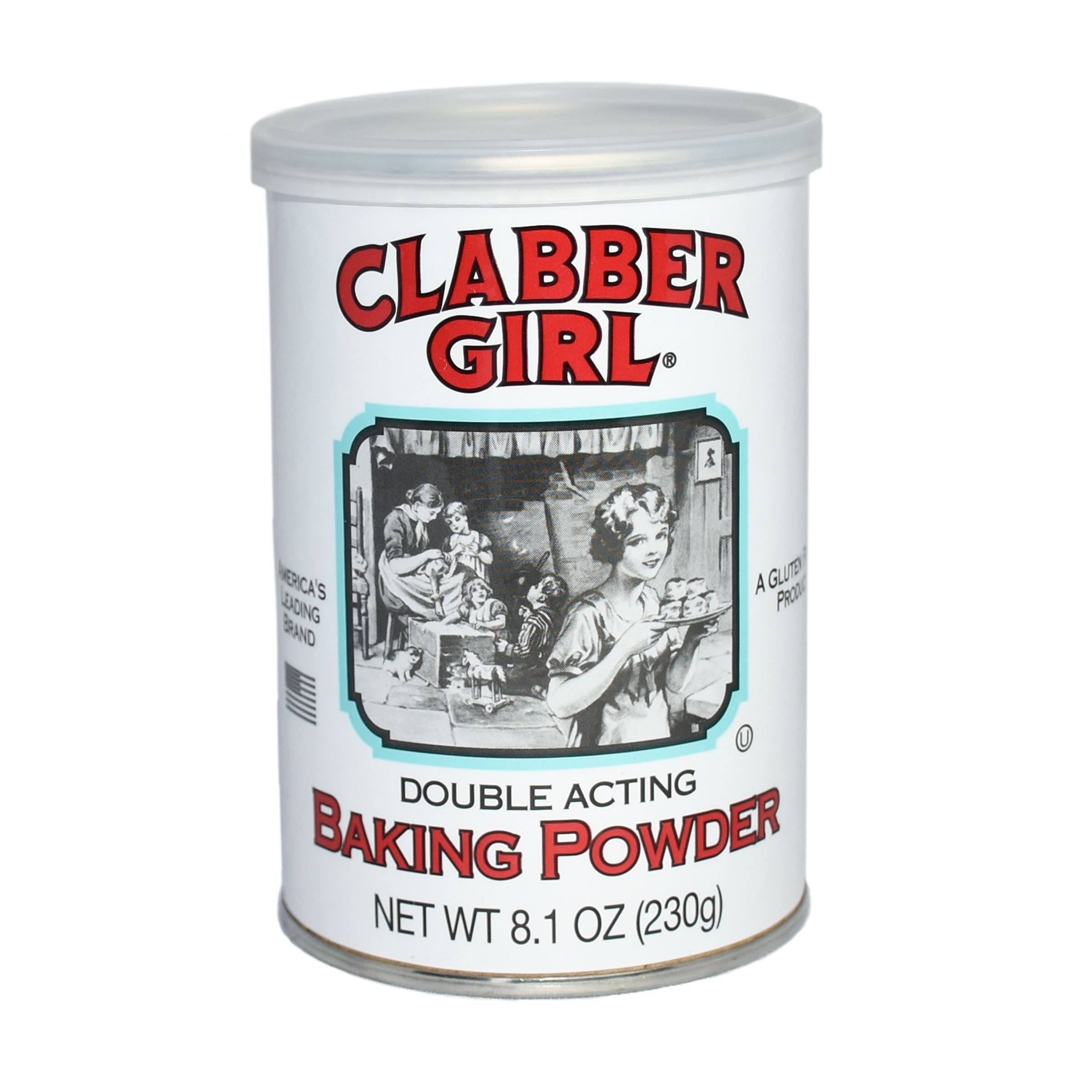 Clabber Girl Baking Powder - Gluten Free Vegan, Vegetarian, Double Acting Baking Powder in a Resealable Can with Easy Measure Lid, Kosher, Halal