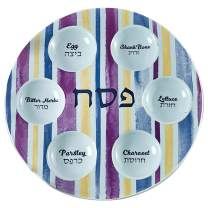 "Rite Lite 12"" Seder Plate, Blue and Purple""Joseph's Coat"" Holiday Passover Ceramic Plate with Gold Accents For Pesach"