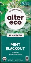 Alter Eco | Single Chocolate Bars | Pure Dark Cocoa, Fair Trade, Organic, Non-GMO, Gluten Free (Mint Blackout)