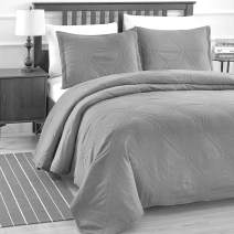 BASIC CHOICE 3-Piece Cotton Filling Stitched Oversize Quilt Bedspread Set - Peace, Charcoal, Queen