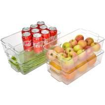 "StorageWorks Stackable X-Large Refrigerator Organizer Bins, Plastic Storage Bins with Handles for Kitchen and Fridge, Clear Pantry Organizer Bins, BPA-Free, 14.5"" L X 8.5"" W X 4"" H, 4-Pack"