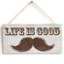 "Meijiafei 'Life is Good' Gift for Man Boys Room - Shabby Chic Door Sign Plaque 10"" X 5"""