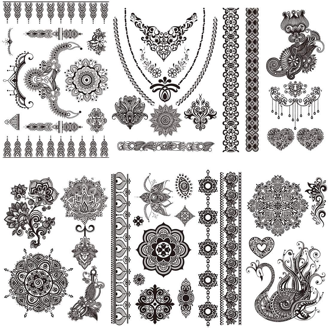 Tattoo Stickers Lace Black Fake Temporary Tattoos Mandala For Adults Women Girls Feather Flower Body Art Arm Sexy Wedding Tatoos Paper - 6 Pcs