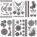 Tattoo Stickers Lace Black Fake Temporary Tattoos Mandala For Adults Women Girls Feather Flower Body Art Arm Sexy Wedding Tatoos Paper - 6 Pcs