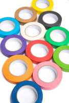12 Rolls of Colored Masking Tape, 1 in x 60 yds; Great for DIY Label Making, Arts & Crafts, Home & Office. Includes Blue, Black, Yellow, Purple, White and Many More. Vibrant Colors
