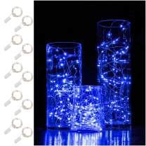 10 Pack 6.6 ft Fairy Light 20 LED Battery Operated Fairy String Lights Waterproof Copper Wire Starry String Lights Mason Jar Lights Firefly Lights for DIY Wedding Party Christmas Decor (Blue)