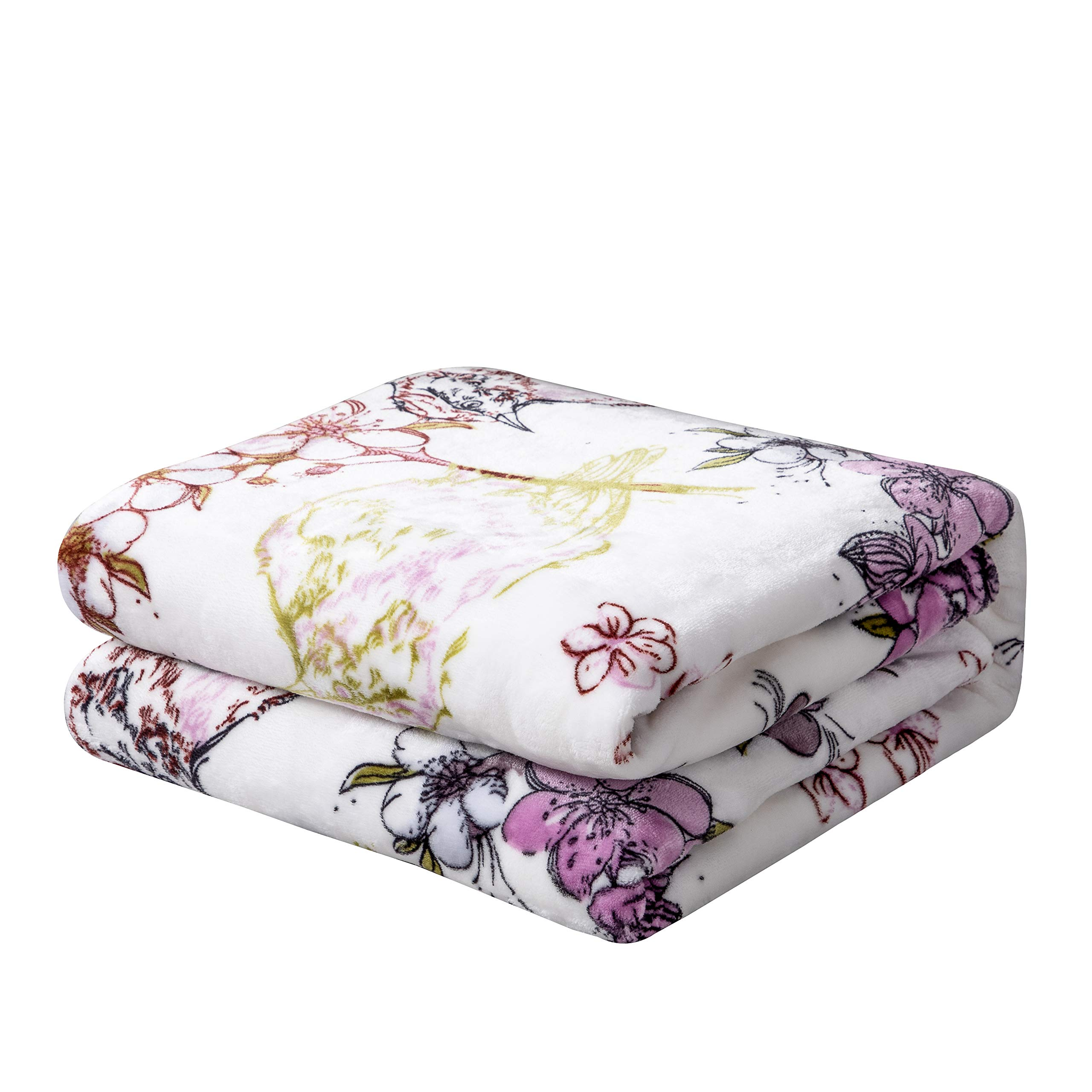 """DaDa Bedding Orchid Blossoms Soft Cozy Plush Luxe Shades of Purple Flannel Fleece Throw Blanket - Floral Leaves Solid Striped Multi Purple Lavender Print - 90"""" x 90"""""""