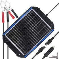SUNER POWER Waterproof 12V Solar Battery Charger & Maintainer Pro - Built-in Intelligent MPPT Charge Controller - 20W Solar Panel Trickle Charging Kit for Car, Marine, Motorcycle, RV, etc