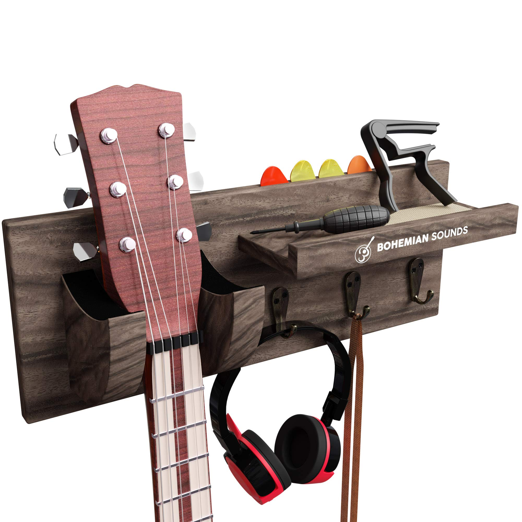 Guitar Wall Hanger by Bohemian Sounds - DARK BROWN - Guitar Wall Mount with Guitar Picks and Capo - Guitar Wall Hanger Bracket Hanger Guitar Wood Hanging with Pick Holder - Gift For Musician