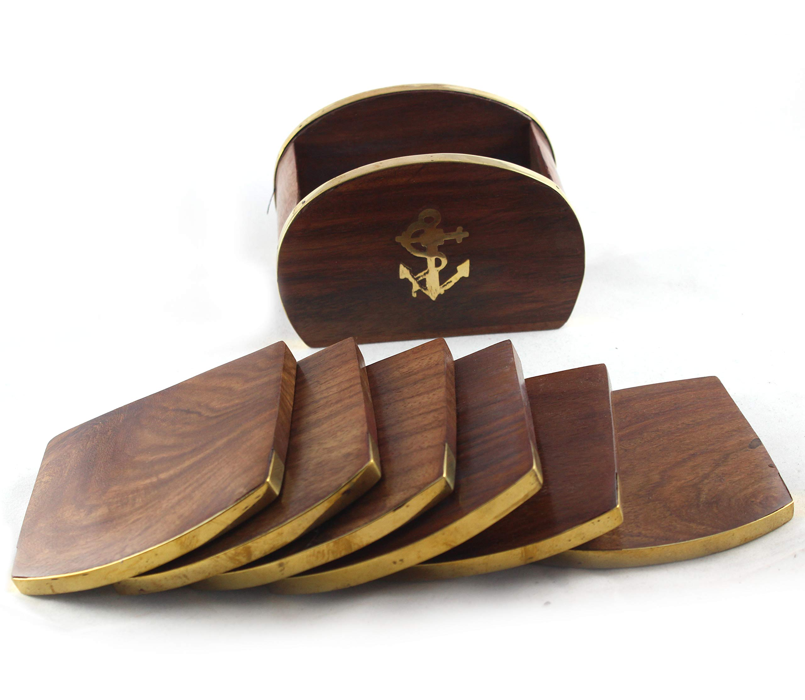 collectiblesBuy Antique Wooden Drink Coasters Handmade Tea & Coffee Coasters Set of 6 Brown Wood with case Premium