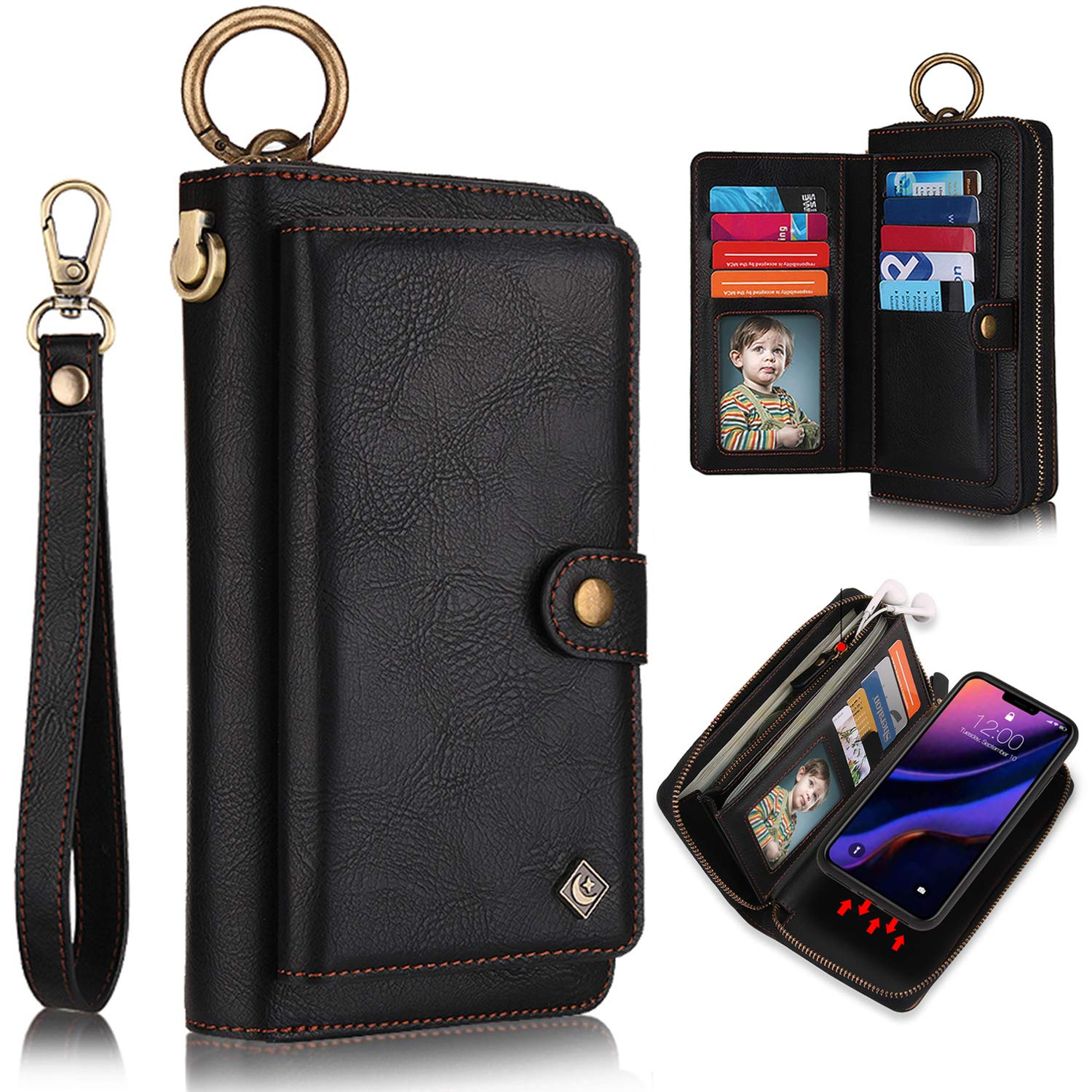 iPhone 11 Pro Case, iPhone 11 Pro Case Wallet, XRPow [2 in 1] [Magnetic Detachable] Zipper Wallet Folio Case [Wrist Strap] Slim Shock Back Cover with Credit Card Purse for iPhone 11Pro 5.8Inch - Black