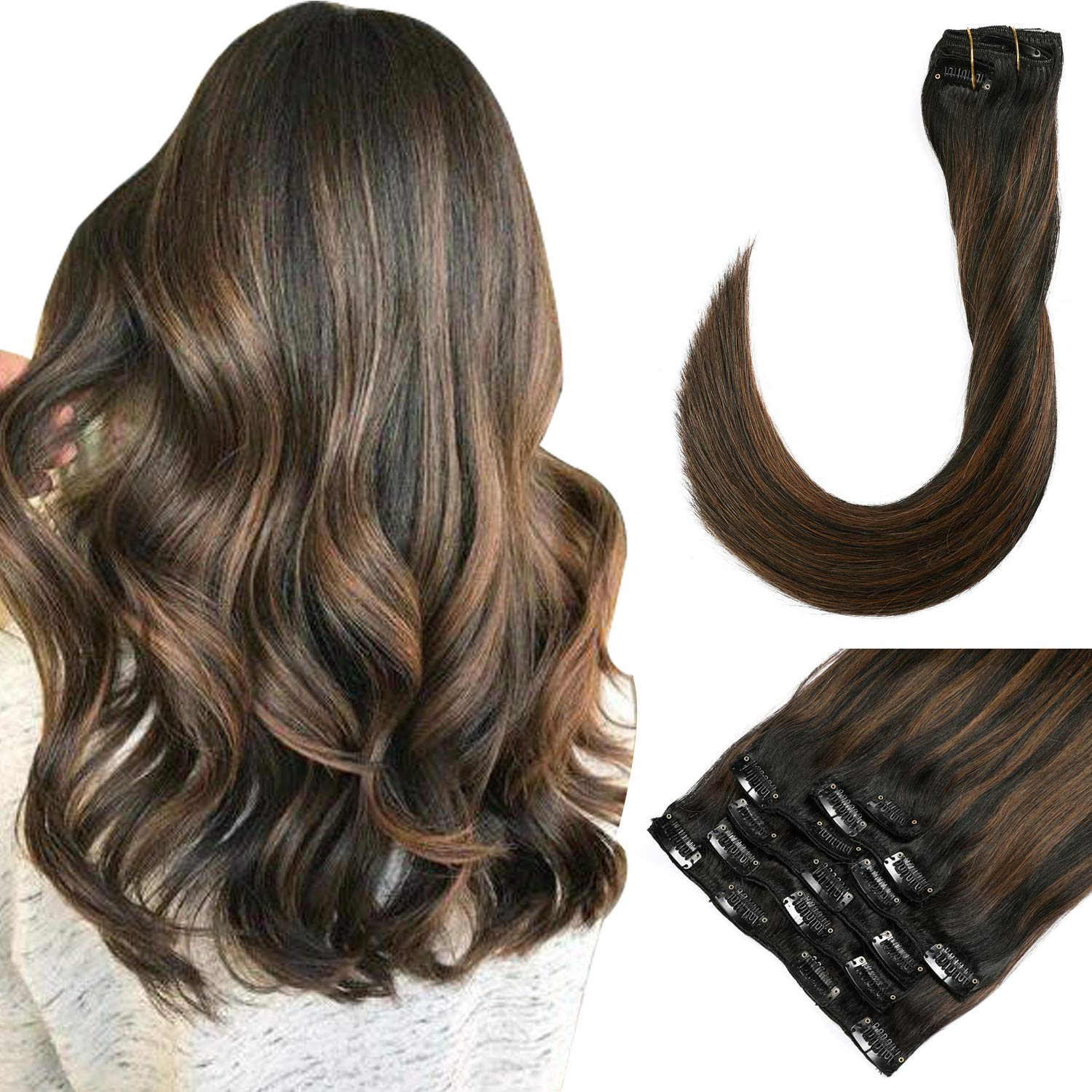16 Inch Clip in Hair Extensions Real Human Hair Black Brown Highlights 120 Gram Double Weft Straight Remy Human Hair Extension Clip on for Full Head (#1BT6P1B)