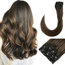 Clip Remy Hair Extension Black with Brown Real Human Hair Extensions Clip in 20 Inch 120gram Full Head Straight Brown Highlighted Hairpieces for Women (#1BT6P1B)