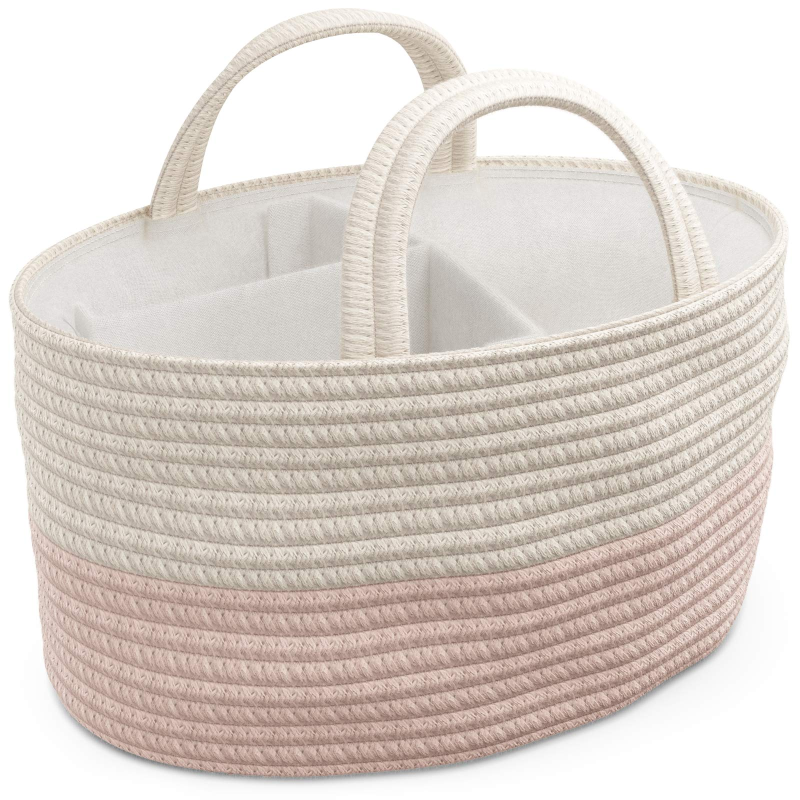 Diaper Caddy Organizer for Change Table   Portable Carry Tote for Newborn Girl Nursery with Handles   Storage Basket for Wipes, Diaper, Baby Essentials   Perfect Shower Gift   Cotton Rope - Pink/White