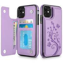 HianDier Wallet Case for iPhone 11 6.1-inch Slim Protective Case with Credit Card Slot Holder Flip Folio Soft PU Leather Magnetic Closure Cover for 2019 iPhone 11 iPhone XI, Purple