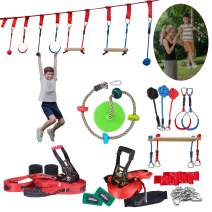 Autofonder Ninja Warrior Obstacle Course Kit for Kids 2 Ninja Slackline with 7 Obstacles and Climbing Swing Seat for Outdoor Play, Family Play TogetherNinja Warrior Training Equipment Backyard