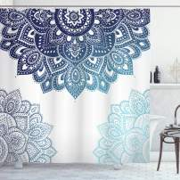 "Ambesonne Flora Shower Curtain, South Mandala Design with Vibrant Color Ornamental Illustration, Cloth Fabric Bathroom Decor Set with Hooks, 84"" Long Extra, Blue"