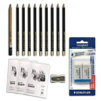 WA Portman 16 pc Sketch and Drawing Pencils Set - 10 Premium Drawing Pencils - 3 Sketch Books - 2 Staedtler Mars Erasers - 1 Sharpener Sketching Supplies Kit for Artists of All Levels