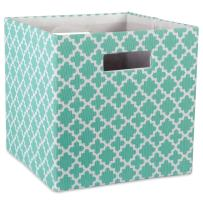 "DII Hard Sided Collapsible Fabric Storage Container for Nursery, Offices, & Home Organization, (11x11x11"") - Lattice Aqua"