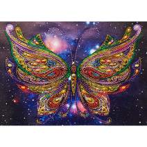 MXJSUA DIY 5D Special Shape Diamond Painting by Number Kit Crystal Rhinestone Round Drill Art Craft for Home Wall Decor 12X16In Colored Butterfly