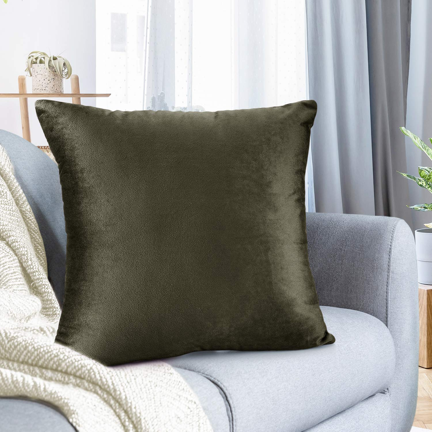 """Nestl Bedding Throw Pillow Cover 16"""" x 16"""" Soft Square Decorative Throw Pillow Covers Cozy Velvet Cushion Case for Sofa Couch Bedroom - Khaki"""