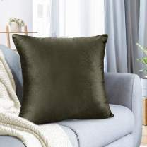 "Nestl Bedding Throw Pillow Cover 18"" x 18"" Soft Square Decorative Throw Pillow Covers Cozy Velvet Cushion Case for Sofa Couch Bedroom - Khaki"