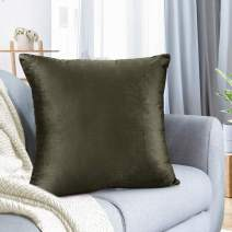 """Nestl Bedding Throw Pillow Cover 22"""" x 22"""" Soft Square Decorative Throw Pillow Covers Cozy Velvet Cushion Case for Sofa Couch Bedroom - Khaki"""