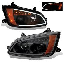 SPPC Projector Plank Style Black Amber Reflector Headlight Assembly Set for Kenworth T660-(Pair) Driver Left and Passenger Right Side Replacement Headlamp