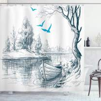 """Ambesonne Landscape Shower Curtain, Boat on Calm River Trees Birds Twigs Sketch Drawing Clipart Water Minimalist, Cloth Fabric Bathroom Decor Set with Hooks, 75"""" Long, Petrol Blue"""
