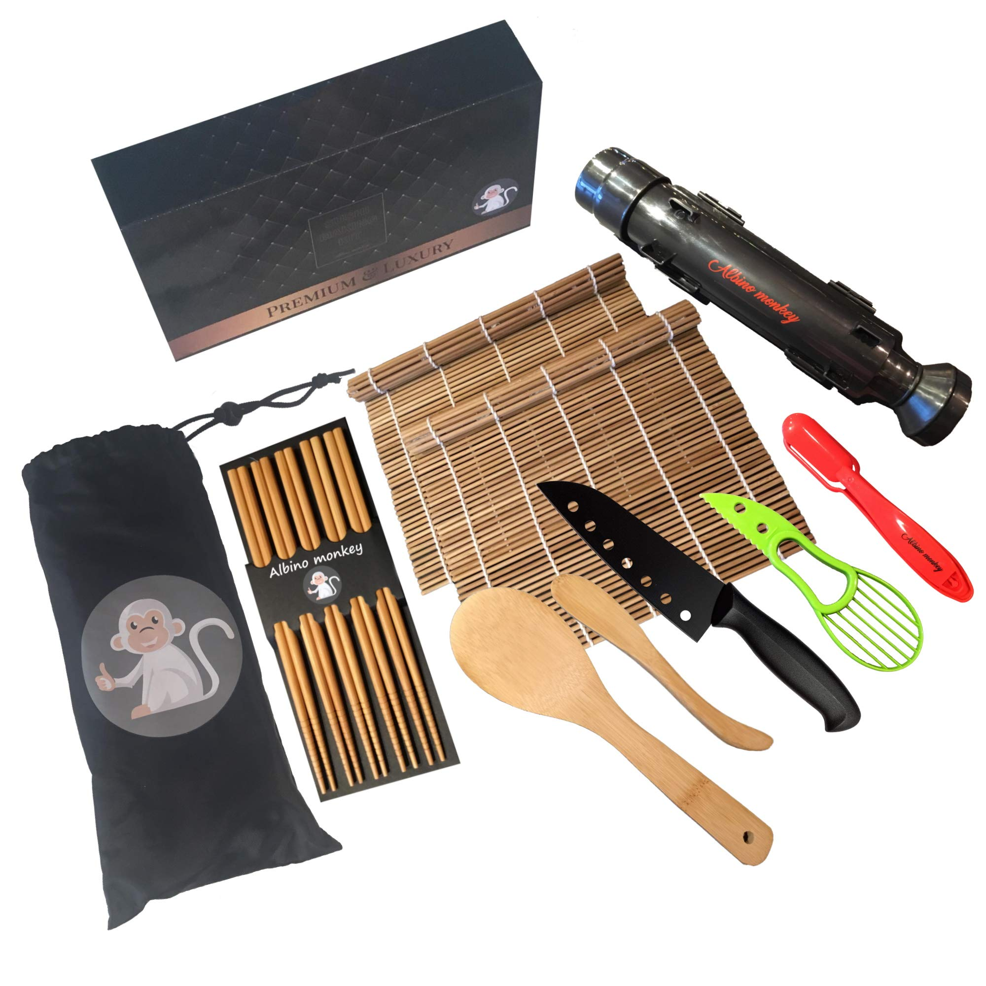 Albino Monkey Sushi Making Kit - Comes with Sashimi Knife, Paddle Spreader, Bamboo Sushi Mat, Black Sushi Bazooka, Chopsticks, and Green Avocado Slicer - Easy-to-Use Sushi Making Kit for Beginners