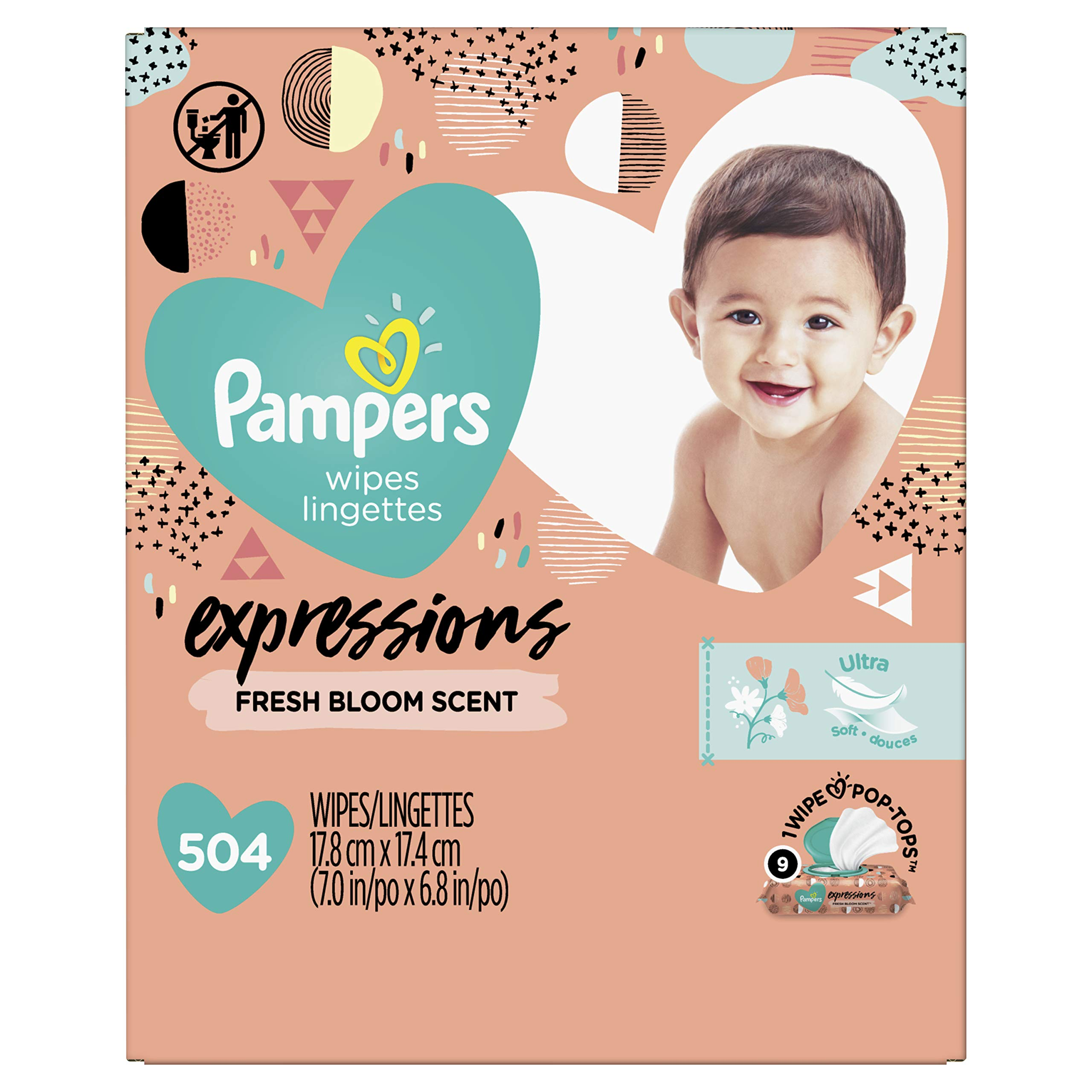 Baby Wipes, Pampers Expressions Baby Diaper Wipes, Hypoallergenic, Fresh Bloom Scent, 9X Pop-Top Packs, 504 Count