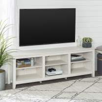 """Walker Edison Furniture Company Minimal Farmhouse Wood Universal Stand for TV's up to 80"""" Flat Screen Living Room Storage Shelves Entertainment Center, White Wash"""