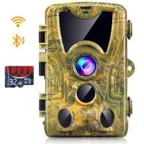 WiFi Trail Camera, Newest 24MP 1296P Hunting Camera with 32GB Card Game Cameras with Night Vision Motion Activated Waterproof Trail Cam with 0.2s Trigger Time 120° Wide Angle 2.4 inch Screen